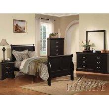 Louis Phillipe III KD Black Finish Full Size Bedroom Set