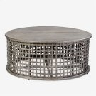 Open weave round Coffee Table - vintage grey Product Image