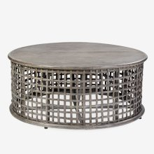 Open weave round Coffee Table - vintage grey