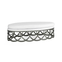 Gigolette Bronzed Stainless Steel Ottoman, Upholstered in COM