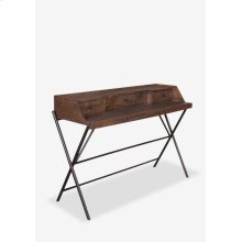 (LS) Gabriel Campaign Style Desk with Metal Base and 3 Drawers - K/D (53.5x18x36)