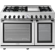 """Range NEXT 48"""" Panorama Stainless steel 6 gas, griddle and 2 electric ovens, self-clean"""