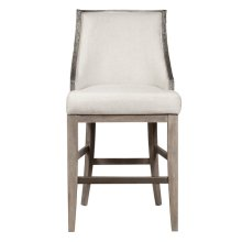 """Stone-Textured Resin and Ash Wood 30"""" Bar Stool in Cream"""