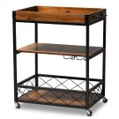 Baxton Studio Capri Vintage Rustic Industrial Oak Brown and Black Finished Mobile Metal Bar Cart with Stemware Rack Product Image