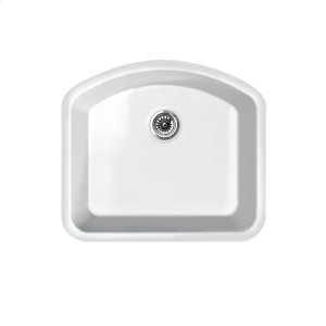"Farmhaus Fireclay Elementhaus large single D-bowl fireclay sink that can be installed as a drop-in or undermount sink with a 3 1/2"" rear center drain. Product Image"