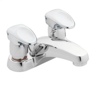 M-PRESS chrome two-handle metering lavatory faucet