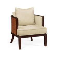 Occasional Tub Chair with Rattan Matte Back, Upholstered in MAZO