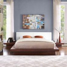 Freja 3 Piece Queen Vinyl Bedroom Set in Walnut White
