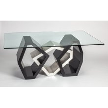 "Dining Table Base with Glass 54x20x30"", glass top 76x45"""