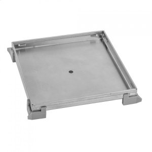 """Brushed Stainless - 6"""" x 6"""" Square Tile-In Channel Drain Grate Product Image"""