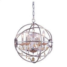 Geneva 4 light Polished nickel Pendant Golden Teak (Smoky) Royal Cut crystal