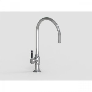 """Brushed Stainless - 10"""" Deck Mount Single Hole Swivel Bar Faucet Spout with Left Black Ceramic Contemporary Lever Product Image"""