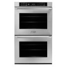 "30"" Heritage Double Wall Oven, Silver Stainless Steel with Epicure Style Handle (Chrome End Caps) Product Image"
