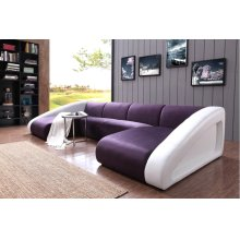 Divani Casa 0916 Modern Purple & White Fabric & Leather Sectional Sofa