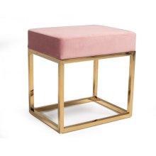 Modrest Downey Modern Pink Velvet & Gold Stool Ottoman