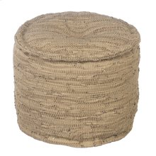 Round Beige Leather Chindi Pouf (Each One Will Vary)