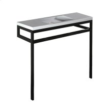 Optional shelf in white solid surface - Polished Stainless Steel