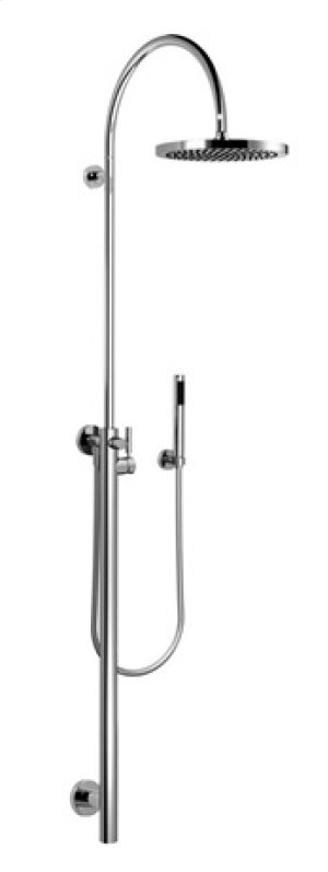 Shower riser with shower single-lever mixer for wall-mounted installation with rainhead and hand shower set - chrome Product Image