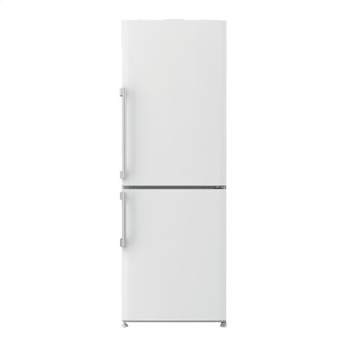 "24"" 10.3 cuft bottom freezer fridge with full frost free, white"