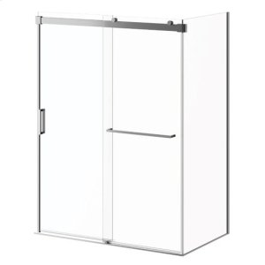 "60"" X 77"" Sliding Shower Door With Clear Glass and Towel Bar - Chrome Product Image"