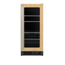 "15"" Custom Panel Beverage Center - DFUR (Right Hinge Clear Door, Black interior)"