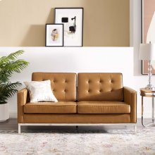 Loft Tufted Upholstered Faux Leather Loveseat in Silver Tan