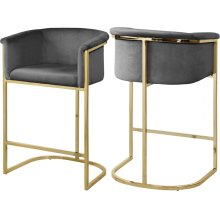 "Donatella Velvet Counter Stool - 23.5"" W x 20"" D x 36"" H"
