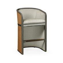 Grey & Tan Rattan Tub Bar Stool, Upholstered in Standard Outdoor Fabric