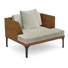"""42"""" Outdoor Tan Rattan Single Sofa Lounger, Upholstered in Standard Outdoor Fabric"""