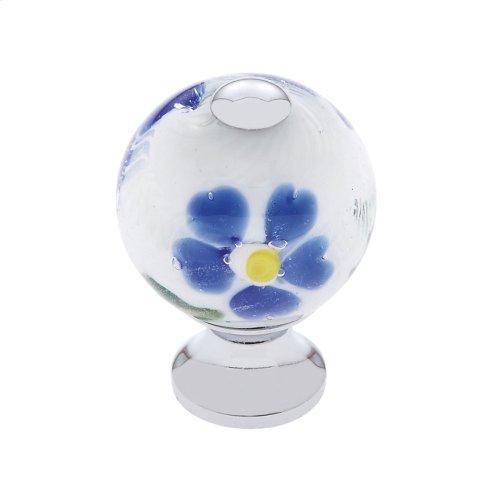 Polished Chrome 30 mm White Knob w/Flowers