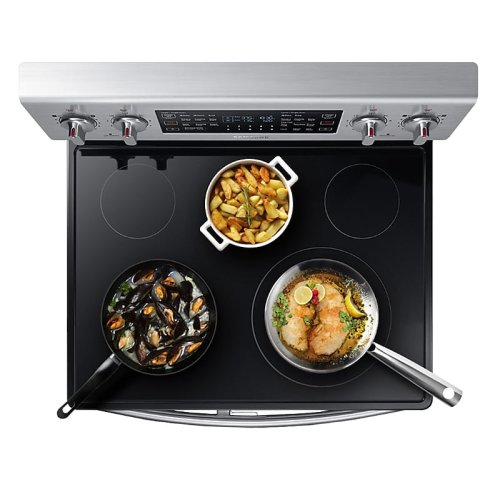 5.9 cu. ft. Freestanding Electric Range with Flex Duo & Dual Door in Stainless Steel