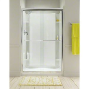 "Finesse™ Sliding Shower Door with Quick Install™ Technology - Height 70-5/16"", Max. Opening 57-1/2"" - Deep Bronze with Lake Mist Glass Pattern Product Image"