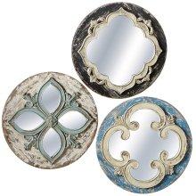 Round Carved Wall Mirror (3 asstd)