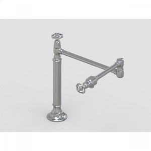 "Brushed Stainless - 19 3/8"" Deck Mount Pot Filler with Metal Wheel Product Image"