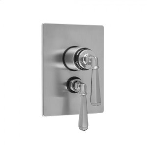 """Antique Brass - Rectangle Plate with Hex Lever Thermostatic Valve and Hex Lever Volume Control Trim for 1/2"""" Thermostatic Valve with Integral Volume Control (J-THVC12) Product Image"""