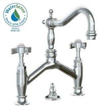 Savina Bridge Style Lavatory Faucet Cross Handles - Polished Chrome