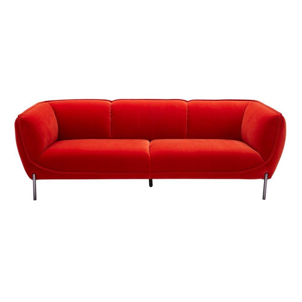 Divani Casa Loma Modern Red Velvet Sofa