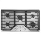 """GE 36"""" Built-In Gas Deep Recessed Edge-to-Edge Stainless Steel Cooktop Product Image"""