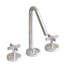Metrohaus lavatory widespread faucet with 45-degree swivel spout, cross handles and pop-up waste.