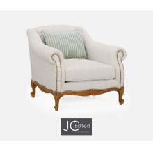 """37 1/2"""" Casual Lawson Style Grey Fruitwood Sofa Chair, Upholstered in Will Linen"""