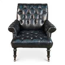 English Tufted Lounge Chair, Black