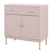 Ricci Raffia Pattern Small Cabinet 1 Drawer + 2 Doors Brushed Gold Legs, Cream