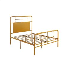 5/0 Queen Iron Headboard-footboard-rails-brown/yellow Finish