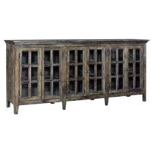 Bengal Manor Acacia Wood Large 6 Door Window Pane Sideboard