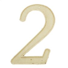 """Polished Brass 4"""" House Number """"2"""""""