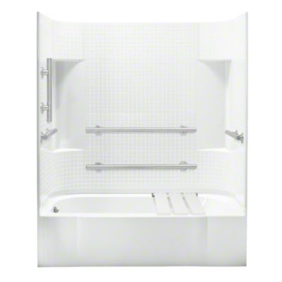 """Accord®, Series 7114, 60"""" x 30"""" x 74-1/4"""" ADA Tile Bath/Shower - Left-hand Drain - White"""