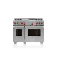 """48"""" Dual Fuel Range - 4 Burners, Infrared Charbroiler and Infrared Griddle"""