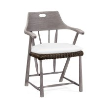 Outdoor Rattan Dining Armchair, Upholstered in COM