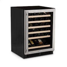 "24"" High Efficiency Single Zone Wine Cellar - Smooth Black Frame Glass Door - Left Hinge"
