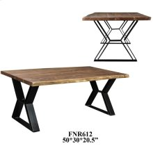Bengal Manor Acacia Wood Live Edge and Metal Rectangle Cocktail Table